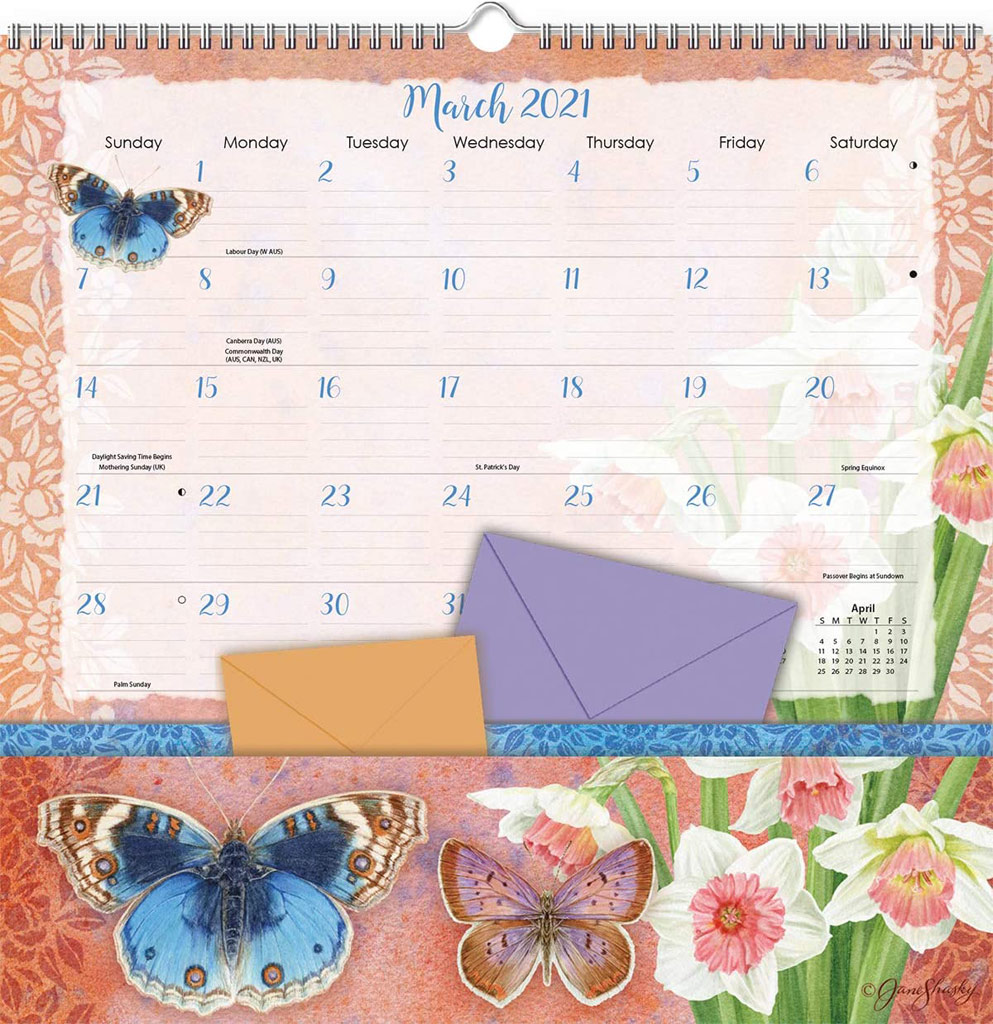 2021 Wall and Pocket Butterfly Calendar