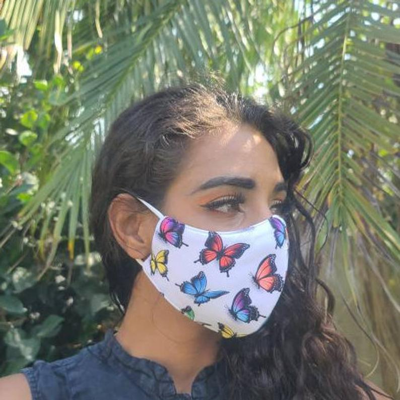white butterfly face mask with colorful butterflies